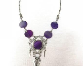 Exotic vintage purple silver necklace