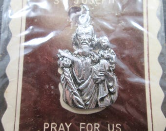 Vintage Saint Joseph Silver Tn Pendant Made in Japan  1950's Original Packaging