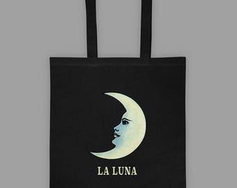 Loteria Tote Bag - La Luna Card - Loteria Card Tote Bag - Occult Graphic Tote - Occult Bag - Mexican Loteria Bag