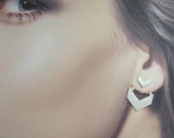 Ear Jacket Earrings, Silver Ear Jackets, Chevron Jewelry, 925 Silver Earrings, Woman's Silver Earrings, Design Earrings, Front Back Earrings