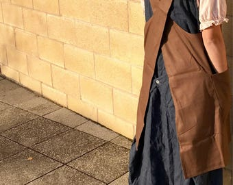 Brown cotton canvas japanese apron smock dress with crossover back