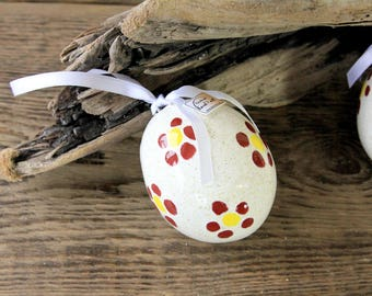 Large ceramic egg, with dark red floral decoration, ceramic jewelry, art decor
