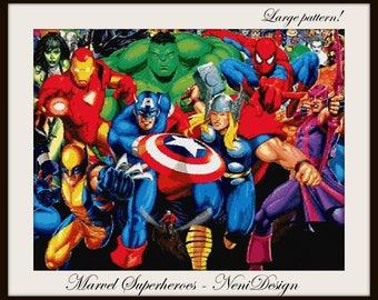 cross stitch pattern, cross stitch, Marvel Superheroes - NeniDesign - PDF pattern - instant download!