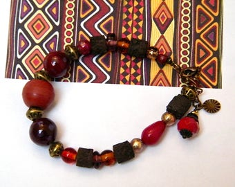 Beads Bracelet glass, lava beads, brass, women gift idea