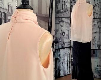 80s Ruched Peach Blouse - Suit Blouse  - Career Blouse - High Neckline - Vintage Blouse - Size SMALL