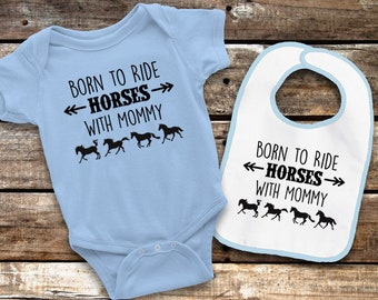 Born to Ride Horses with Mommy Bodysuit and Bib Set - Pink or Blue - Short Sleeve or Long Sleeve - Equestrian Baby Clothes
