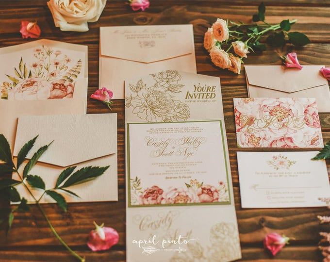 SAMPLE Garden Florals Flower Wood Textured Gate Card Wedding Invitation in Blush and Gold with RSVP and Envelope Liner