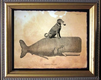 Labrador Retriever Chocolate Lab Riding Whale - Vintage Collage Art Print on Tea Stained Paper dog art - dog gifts - dog christmas gift