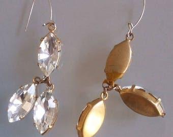 EARRING 3 NAVETTES SWAROVSKI DIAMOND PENDANT