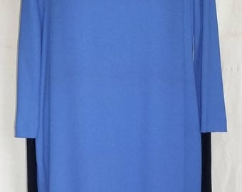 CREPE WIGGLE DRESS WITH SATIN BLUE OF FRANCE HAS LONG SLEEVES