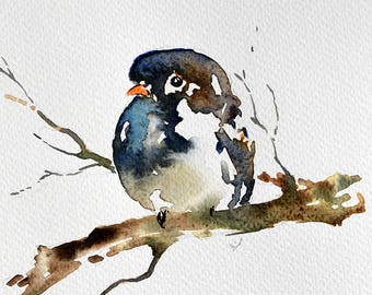 Original Watercolor bird painting, Small Cute Bird, Neutral Colors 6x8 inch