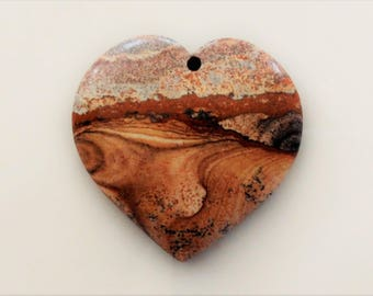 Picture Jasper Heart Pendant Focal Bead -Rolling Hills! -One of a Kind! Jewelry Making