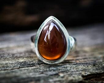 Hessonite Garnet Ring Size 9.5 Garnet Sterling Silver Ring - Hessonite Garnet Ring - Garnet Cabochon - January Birthstone - Garnet Ring 9.5