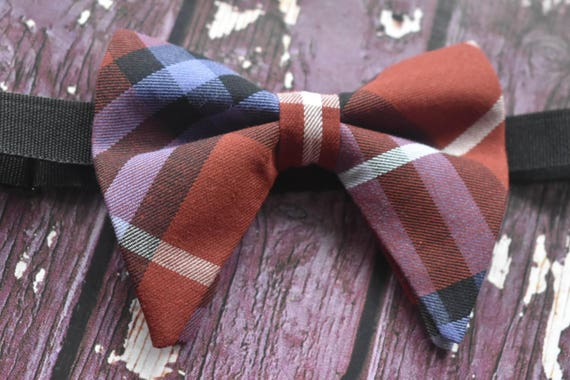 Festive brown tartan / plaid floppy / butterfly bow tie  for Baby, Toddlers and Boys (Kids Bow Ties) with Braces/ Suspender