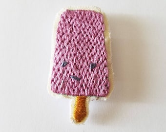 Purple Popsicle Embroidered Magnet