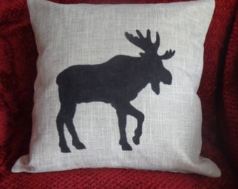 Beige Linen Moose Pillow Cover, Rustic Stenciled Moose Pillow Case, Hunter's Pillow Cover, Lodge Pillow Cover,Hand Painted Pillow Cover