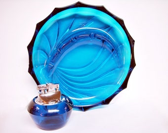 VIKING BLUENIQUE GLASS Party Ashtray and Lighter Smoking Set