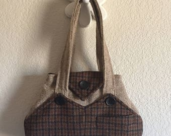 Handcrafted Recycled Brown Houndstooth Plaid + Tan Wool Handbag - Double Straps