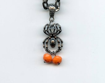 HALLOWEEN JEWELRY - SPIDER Pendant, large link shiny pewter chain, tiny orange pumkin beads,