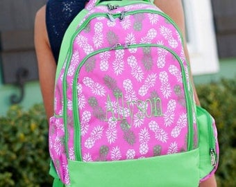 Monogram Backpack and lunchbox, Pineapple Backpack, Embroidered Backpack, Elementary backpack, personalized backpack