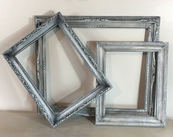 Three Custom Finished Shabby Chic Antique Wooden Picture Frame