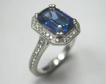 Gorgeous 14kt White Gold  1.84 ct Genuine Sapphire and Diamond Ring  .40ct diamonds - EGL Certified Sapphire