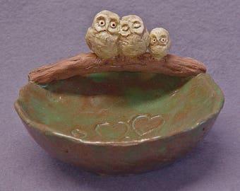 Handmade Ceramic Bowl with an Owl Family - Trinket Holder, Ring Holder, Jewelry Holder, Ceramic Owl,  Ceramic Art,