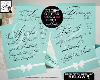 """Breakfast at Tiffany's Audrey Hepburn Quotes Set of 4 - Bridal Shower Decorations, breakfast at bridal shower signs 5x7"""" CUSTOMIZABLE"""