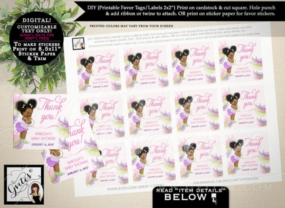 """Thank you baby shower tags, thank you tags, PERSONALIZED pink purple lime green, stickers, party favors gifts.PRINTABLE  2x2"""" 12/Per Sheet."""