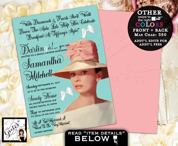 Bridal shower Audrey Hepburn invitations, Breakfast at Tiffany's Hepburn, diamonds pearls, little black dress, 5x7, double sided.