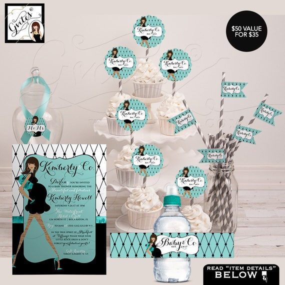 Baby and Co baby shower invitation, cupcake toppers, stickers party printable set, straw flags, turquoise blue themed printable Party Set.