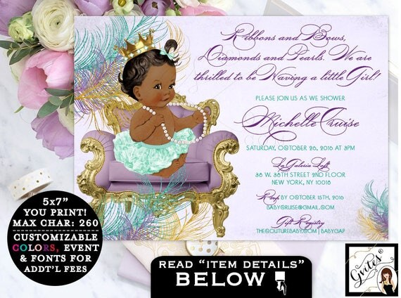 Vintage Baby shower invitation, ribbons and bows, diamonds and pearls, girl printable invites, purple and teal, african american, 7x5 Gvites