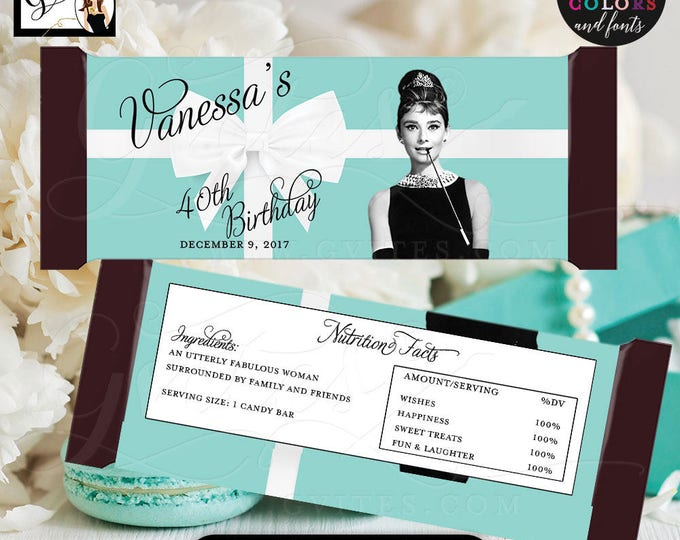 "40TH Birthday Candy Bar Wrapper, hershey chocolate wrapper, Audrey Hepburn party decor PRINTABLE {2 Per/Sheet 5.25 x 5.75""}"