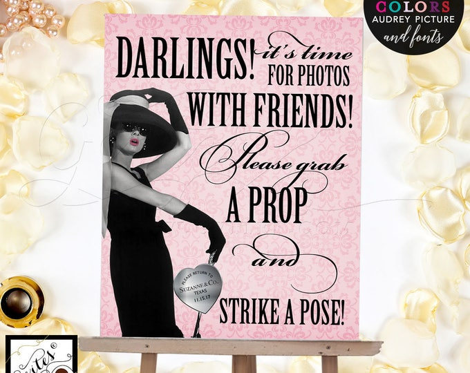 Breakfast at Tiffany's photo booth sign, Audrey Hepburn party themed party supplies, customizable picture, colors and fonts. 8x10 PRINTABLE