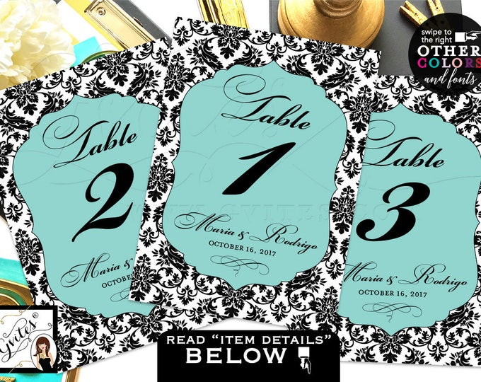 Blue Table Numbers, Breakfast at bridal shower party theme, wedding signs, bridal, birthday table number, PRINTABLE, 5x7 Ready to Frame.