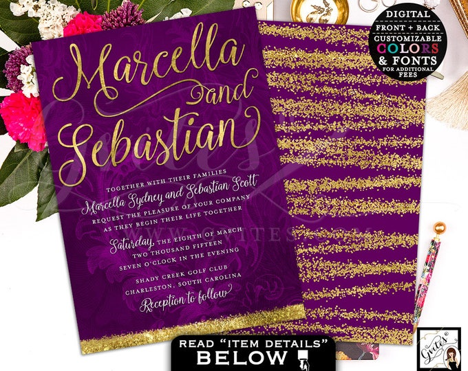 Purple and gold wedding invitation, gold wedding, glitter wedding invites, invitations, printable, digital, diy, double sided, 5x7, Gvites