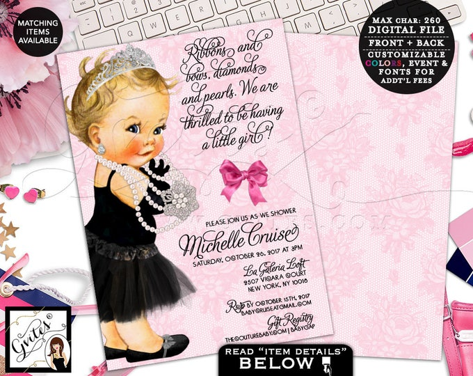 Pink Baby Shower Invitation, Audrey Hepburn Baby Shower, Vintage Lace, Ribbons Bows Diamonds Pearls, Printable, DIGITAL, Double Sided 5x7