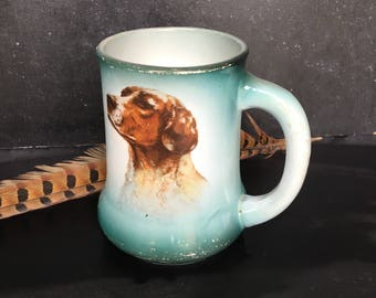 Antique early 1900s china mug with hunting dog design~blue Steubenville China~collectible dog china from MilkweedVintageHome
