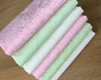 PASTEL PASTE PRINTS Fat Quarter Bundle Cotton Fabric Freedom Coral Lime Ivory