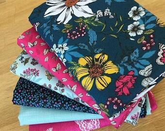 BOTANICA Fat Quarter Bundle A Makower Floral Fabric Blue Pink Berries Butterfly