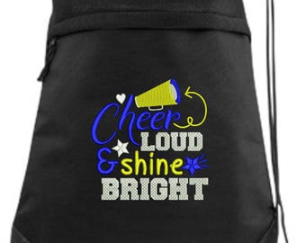 Embroidered Cheer Drawstring Bag/ Embroidered Cheer Bag/ Cheer Loud Shine Bright Cheer Bag/ Cheer Cinch Drawstring Bag/ Embroidered Bag