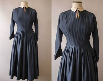 vintage 1950s dress / 50s blue Jonathan Logan dress / medium / Little Ribbon Dress