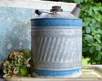 Vintage Gasoline Can / Galvanized Gas Can / Rustic Decor / Industrial Decor / J&L WARE / Photography Prop