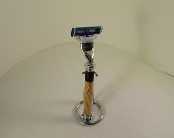 Handcrafted  : Mach 3 (TM)  (Chrome  finished Razor  in a (Laminated Tiger Oak W/Jet Black Acrylic--with   Chrome Finish Stand)