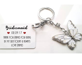 Personalised Wedding Butterfly Keyring - Bridesmaid * Maid of Honour * Chief Bridesmaid * Flower Girl