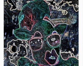 PL#889547 My Neon Wears Shades MarkyArt Original Art Postcard