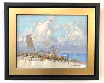 Harbor Framed Ready to Hang Signed Handmade oil Painting  One of a Kind