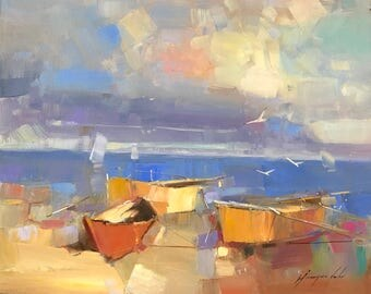 Rowboats, Oil painting, Impressionism, handmade artwork, One of a kind