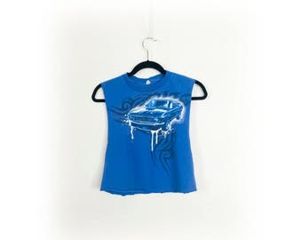 Cropped Muscle Car and Tribal Tattoo Muscle Tee