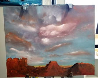 Sunset Desert Plateaus/Oil Painting